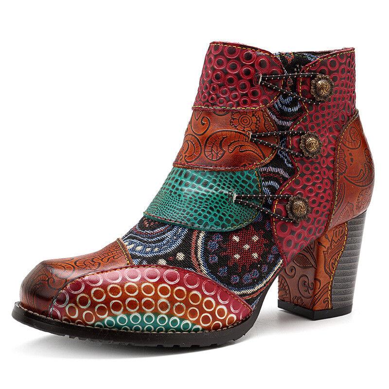 Empalme cierre tobillo Plaza tacón zapato  mujere hebilla botas de cuero genuino