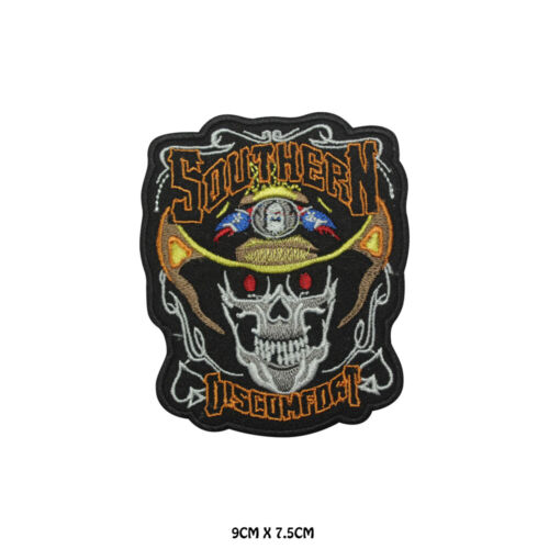 Southern Discomfort Skull Embroidered Patch Iron on Sew On Badge