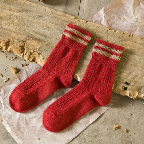 Womens Cashmere Wool Thick Warm Socks Winter Fashion Striped Causal Socks