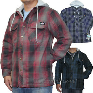 Dickies jackets mens plaid quilted lined fleece hooded for Men flannel shirt jacket with quilted lining