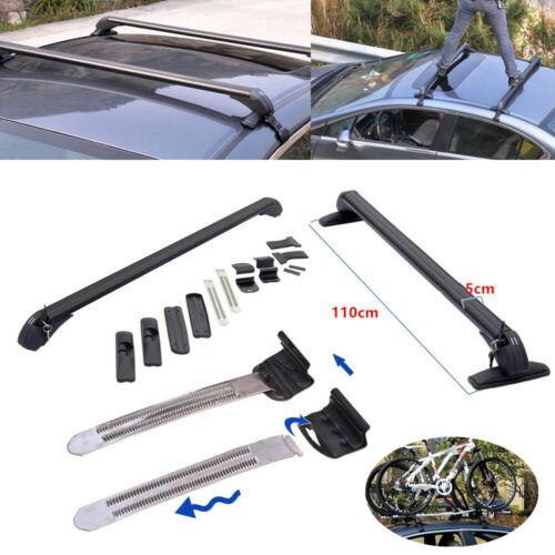 Car Roof Rail Luggage Rack Baggage Carrier Aluminum Black w// Lock /&Key 110cm Kit