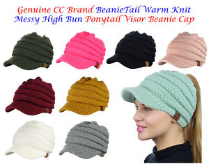 20328dbb4 Details about NEW! CC BeanieTail Warm Knit Messy High Bun VISOR CC Ponytail  Beanie Cap