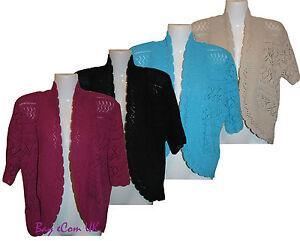 New-Ladies-Crochet-Knitted-Shrug-Bolero-Sweater-Top-UK-Plus-Size-16-to-32