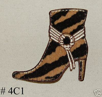 1PC ~ANIMAL PRINT BOOT~IRON ON EMBROIDERED PATCH