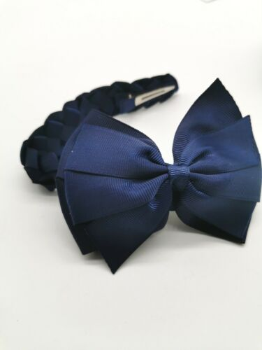 Girl Hair Bow Bun Wrap Girls School Hair Accessories Navy Blue Free Postage UK