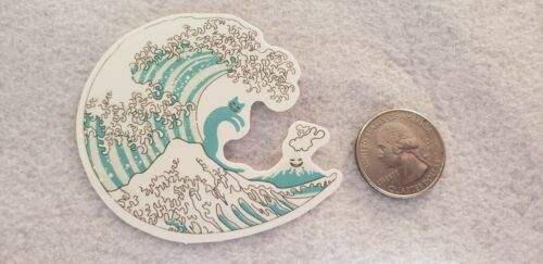 Beautiful Wave Sticker With What Looks Like a Cat Surfing Mountain Sticker Decal