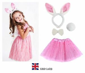 Image is loading Kids-EASTER-BUNNY-Fancy-Dress-Costume-Pink-TUTU-  sc 1 st  eBay & Kids EASTER BUNNY Fancy Dress Costume Pink TUTU EARS TAIL BOW ...
