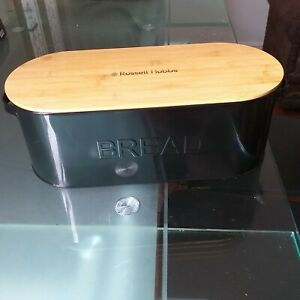 Noir-Email-Pain-Poubelle-Bambou-Couvercle-Russell-Hobbs-contemporain-Loaf-Bread-bin-NEUF