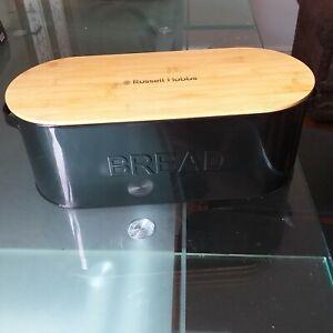 Black-Enamel-bread-bin-bamboo-lid-Russell-Hobbs-Contemporary-loaf-bread-bin-new
