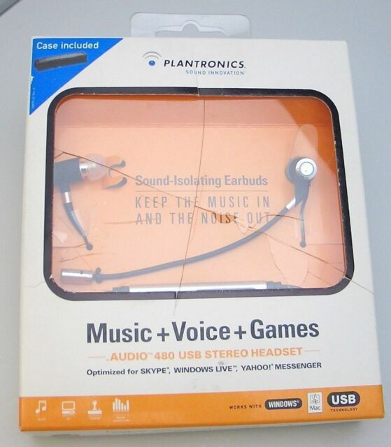 Plantronics Audio 480-USB Virtual Phone Booth Stereo Earbud Headset for SKYPE