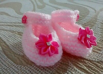 Hand Knitted Bebé Botines Nuevo Rosa 0 - 3 meses
