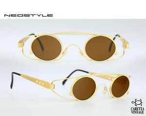 Neostyle-Holiday-975-90s-vintage-small-circle-steampunk-sunglasses-NOS