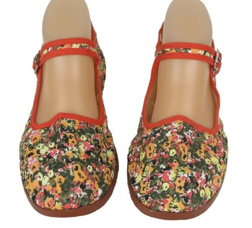Sizes 6-10 New Women/'s Chinese Mary Jane Floral Print Cotton Shoes Slippers