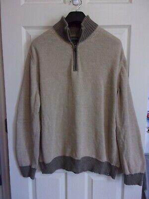 Clothing, Shoes & Accessories Men's Xl Eddie Bauer 1/4 Zip Mock Neck Sweater~beige & Brown Cotton~guc
