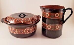 Vintage Brown Pottery Hand-Painted Ceramic Serving Bowl & Jug Pitcher, Floral