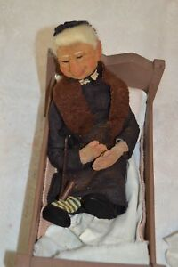 Open-Minded Vintage Folk Art Of Happy Woman In Bed With A Pipe Antiques Woodenware