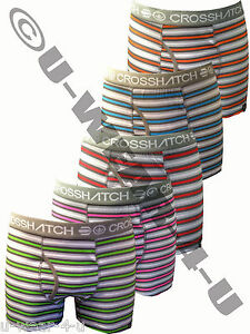 MENS CROSSHATCH GREY STRIPE FITTED BOXER SHORTS. 5 DIFFERENT COLOURS. S,M,L,XL