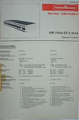 Hifi 7504/st/2.163 A Chassis 772.163 A Service Information DemüTigen Nordmende B2578 Delikatessen Von Allen Geliebt