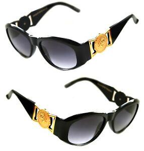0434f82511 Medusa Metal Gold Logo 413 Medium Black Sunglasses Vintage Style ...