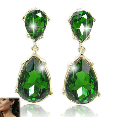 Fashion Hot Teardrop Dangle Pierced Earrings Rhinestone Crystal Emerald Green