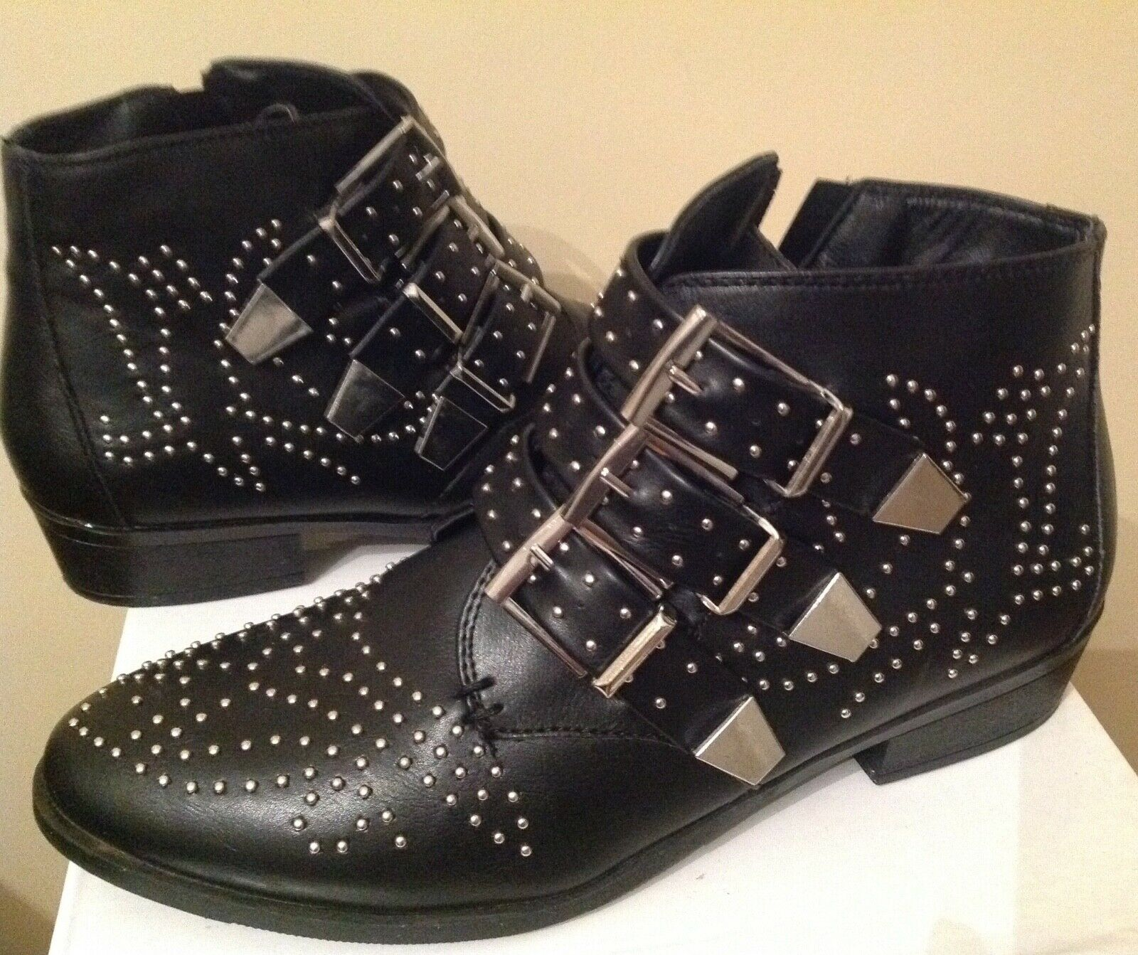 Black Beaded Ankle Boots with Buckle Detail, UK Size 6 (EUR 39)