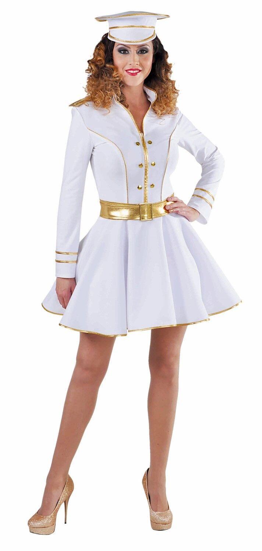 White /Gold Naval Dress + Hat - OFFICER / MAJORETTE / CIRCUS , sizes 8 -22