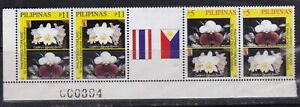 Philippine-Thailand-Diplomatic-Rltn-1999-Orchids-Flower-strip-4-Center-Gutter-NH