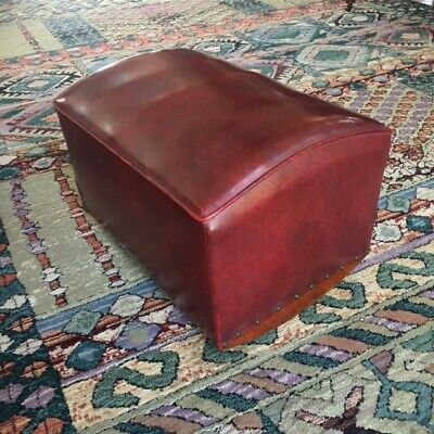 Vintage Mid-Century Merit NY Red Vinyl Foot Stool