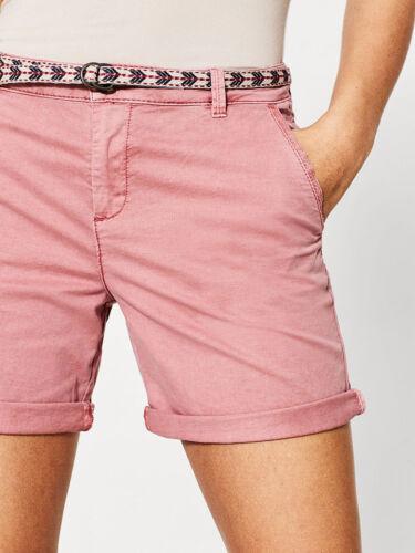 Ex ESPRIT Femme Délavé Couleur Coton Chino Shorts Avec Poches