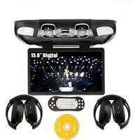 Black Car Roof Mount Flip Down Swivel 15 Dvd Player 32 Bit Games Ir Headphones