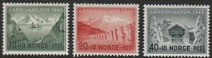 Stamp Norway Sc B32-4 1943 WWII Winter Relief Fishing Quisling War Germany MNH