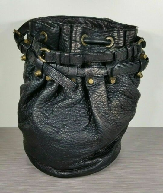 Alexander Wang Diego Bucket Bag, Black Pebbled Leather