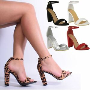 Womens-Barley-There-High-Heel-Party-Sandals-Strap-Leopard-Animal-Print-Size-New