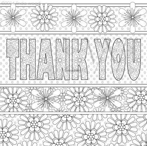 Colour Me In Thank you Greeting Card by Linda Wood