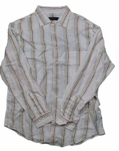 The Men/'s Store Natural Striped Tan Linen L//S Button Front Shirt in S L XL 2XL