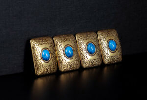 4PC-32X22MM-Copper-Turquoise-Western-LEATHERCRAFT-Saddle-Belt-Conchos-SCREWBACK