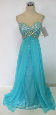 RIVA DESIGNS R9718 Turquoise $398 Formal Prom Gown 0