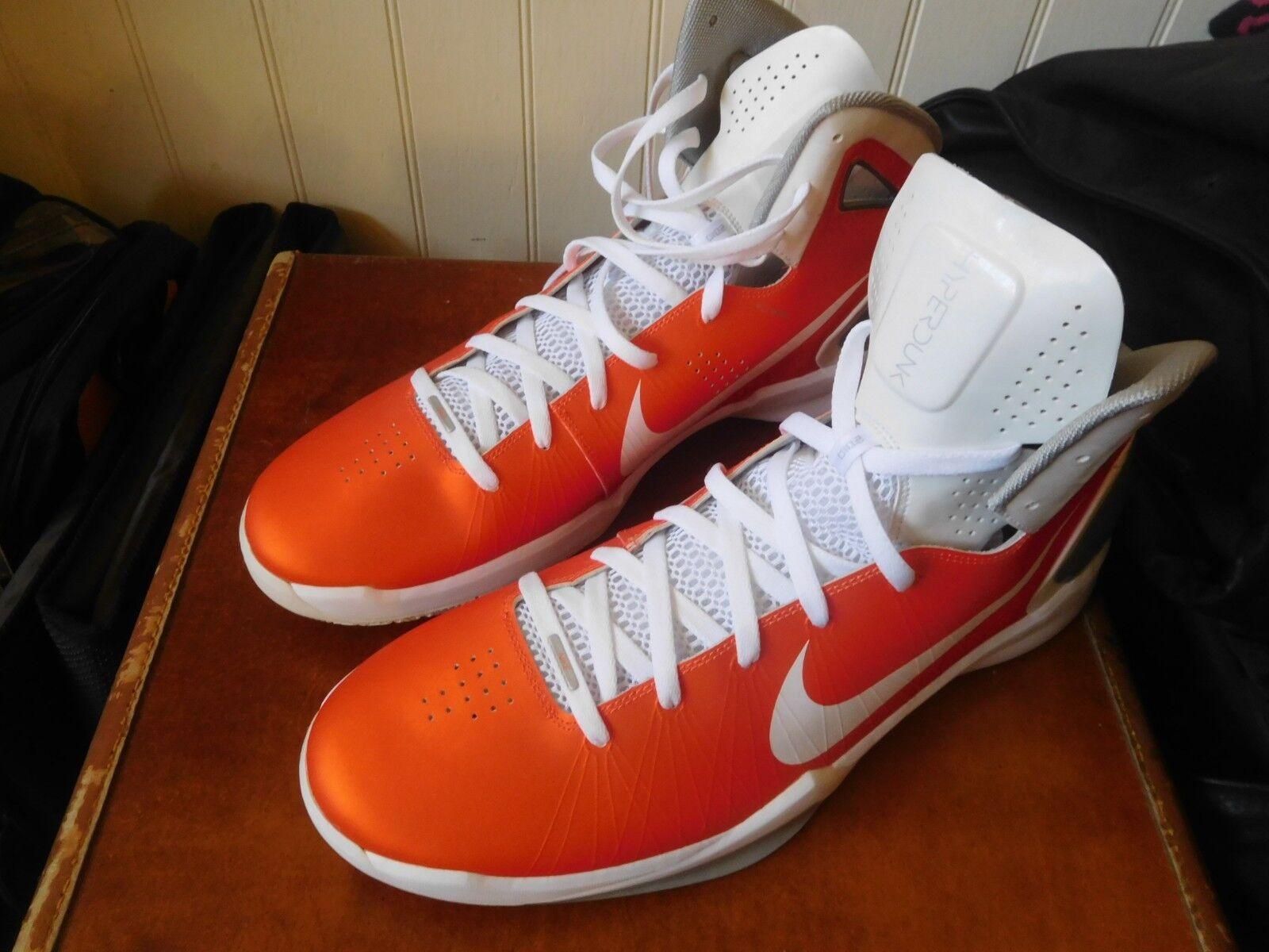 NEW 2010 NIKE HYPERDUNK BASKETBALL SHOES 16 D orange WHITE NEVER WORN PERFECT