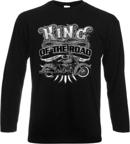 King of Long Sleeve//Long Sleeve Shirt Black HD Biker Chopper /& Oldschool Motif