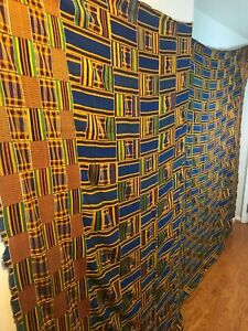 Vintage-large-African-kente-Ashanti-hand-woven-cloth