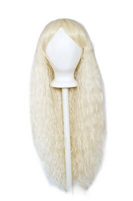 """30/"""" Crimped Cut with Long Straigh Bangs Buttercream Blonde Wig Cosplay NEW"""