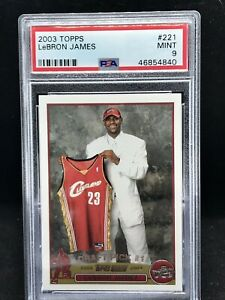 2003-04-TOPPS-BASKETBALL-221-LEBRON-JAMES-RC-ROOKIE-CARD-CAVS-PSA-9-MINT