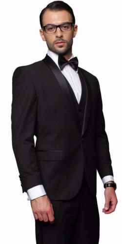New Statement 3 PC Modern Fit 100/% Wool Black Tuxedo Suit Vest Pants Tux-Sh