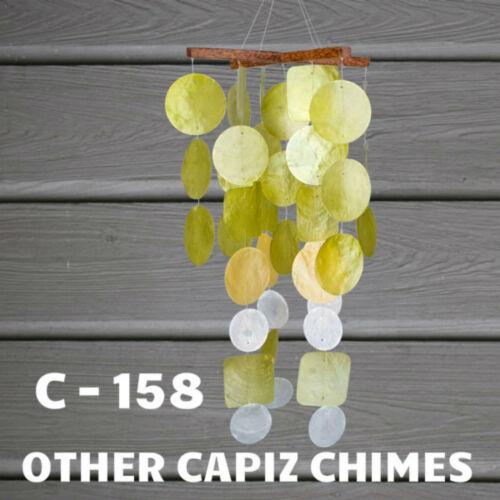 Woodstock Chimes Aqua Capiz Chime W// Wood Beads Coconut wood top Capiz C160
