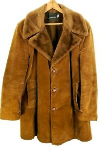 80s Mens Coat Faux Fur Lined Mens Coat Vintage Tan Trench Coat with Brown Faux Fur Lining Mens Size 40 Long Tan Trench Overcoat