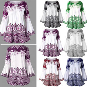 Womens-Ladies-Plus-Size-Printed-Flare-Sleeve-Tops-Blouses-Keyhole-T-Shirts-Top-U