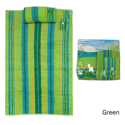 Jacquard Beach Towel 86 x 160 cm with Pocket and Ipod Pillow by Kingtex