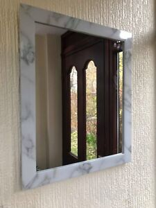 Large Marble Effect Wall Mirror White Grey Marble Effect