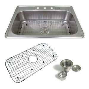 Drop In Kitchen Sink Package Stainless Steel | 33\'\' x 22\'\' x 9\'\' 4 ...