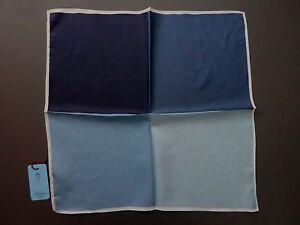 $155 NEW BATTISTI NAPOLI Cadet Blue Quadrant Silk Pochette Pocket Square ITALY